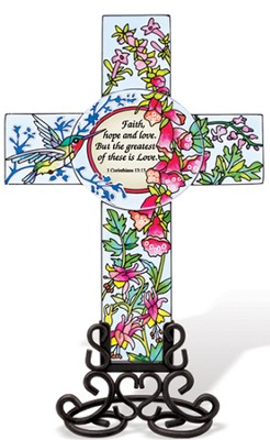Faith, Hope and Love Cross Suncatcher  -
