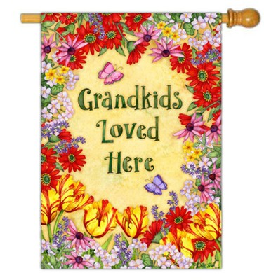 Grandkids Loved Here Flag, Large  -     By: Debi Hron