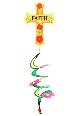 Faith Cross Applique Wind Spinner  -