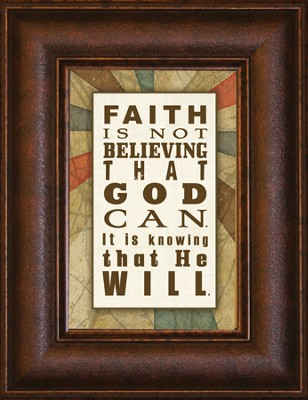 Faith is Not Believing that God Can Mini Framed Print  -