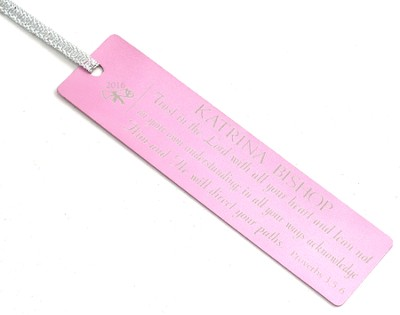 Personalized, Trust in the Lord Graduation Bookmark, Pink  -