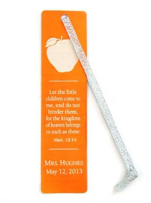 Personalized, Aluminum Bookmark, Teachers, Orange   -