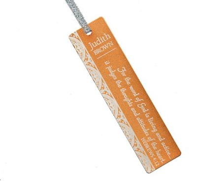 Personalized, Word of God Aluminum Bookmark, Orange   -