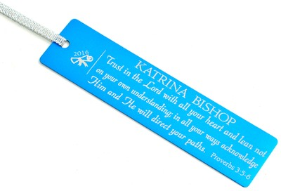 Personalized, Trust in the Lord Graduation Bookmark, Blue   -