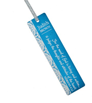 Personalized, Word of God Aluminum Bookmark, Blue   -