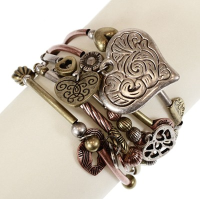 5 Row Burnished Charm Stretch Bracelet  -