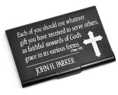 Personalized, Metal Business Card Holder, Faithful Stewards of God, Black  -