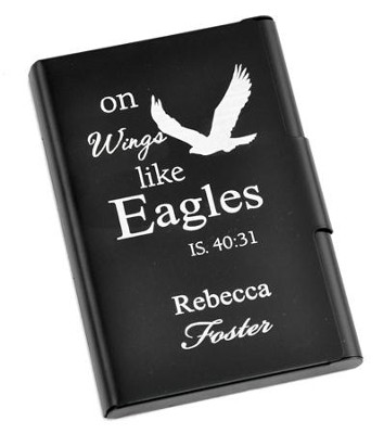 Personalized, Metal Business Card Holder, Like Wings On Eagles, Black  -
