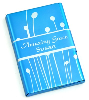 Personalized, Metal Business Card Holder, Amazing Grace, Blue  -
