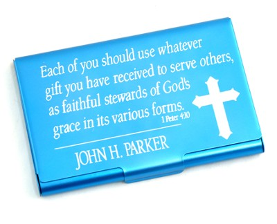 Personalized, Metal Business Card Holder, Faithful Stewards of God, Blue  -