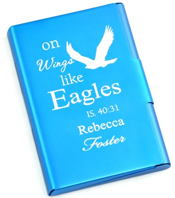 Personalized, Metal Business Card Holder, Like Wings On Eagles, Blue  -