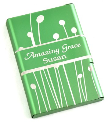 Personalized, Metal Business Card Holder, Amazing Grace, Green  -