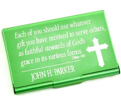 Personalized, Metal Business Card Holder, Faithful Stewards of God, Green  -