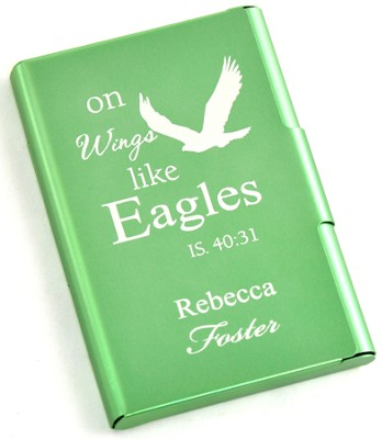 Personalized, Metal Business Card Holder, Like Wings On Eagles, Green  -