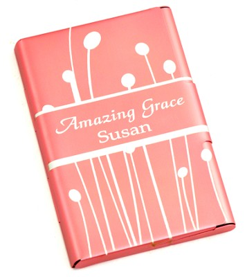 Personalized, Metal Business Card Holder, Amazing Grace, Pink  -