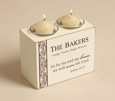 Personalized, As For Me and My House Votive Holder Double  -
