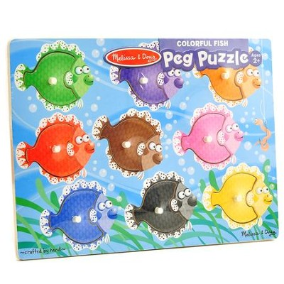 Colorful Fish Peg Puzzle, 9 Pieces  -