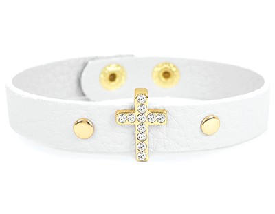 Bling Cross Leather Bracelet, White  -