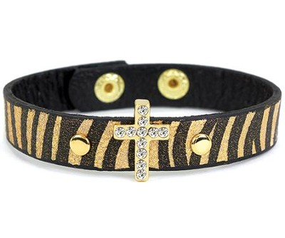 Bling Cross Leather Bracelet, Animal  -