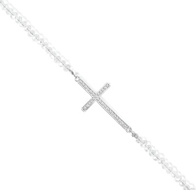 Cross Stretch Necklace, Crystal  -