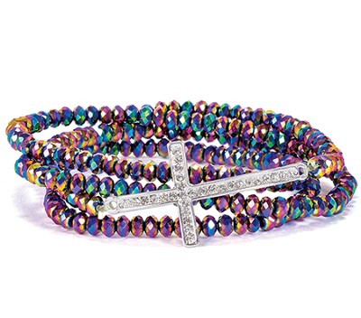 Cross Stretch Wrap Bracelet, Rainbow  -