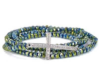 Cross Stretch Wrap Bracelet, Green  -