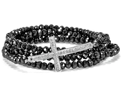 Cross Stretch Wrap Bracelet, Black  -