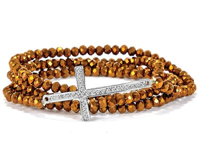 Cross Stretch Wrap Bracelet, Bronze  -