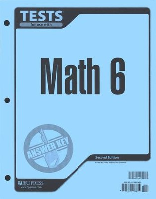 BJU Math 6, Tests Answer Key    -
