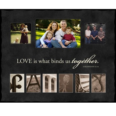 Love is What Binds Us Together, FAMILY, Alphabet Photo Frame, Large  -
