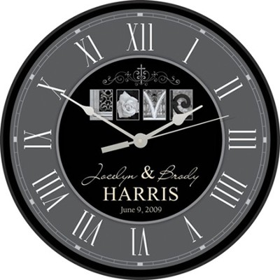 Personalized, Love Clock, Round, Gray and Black   -