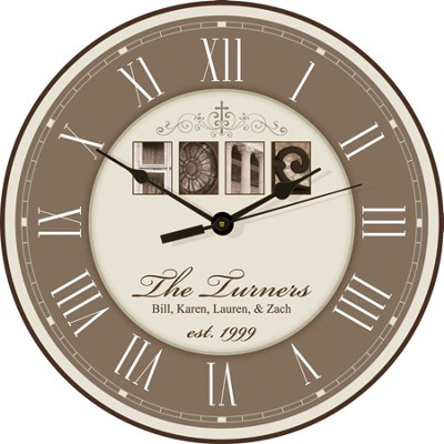 Personalized, Home Round Clock, Cream   -