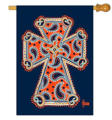 Paisley Cross Flag, Large  -     By: Brushfire Designs