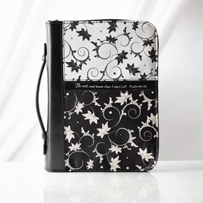 Bible Cover - Medium Micro-Fiber Black & White  -