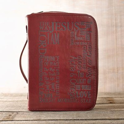 Bible Cover - Large Luxleather Burgundy Names of Jesus  -