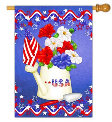 USA, Patriotic Petunias Flag, Large  -     By: Joan Beiriger