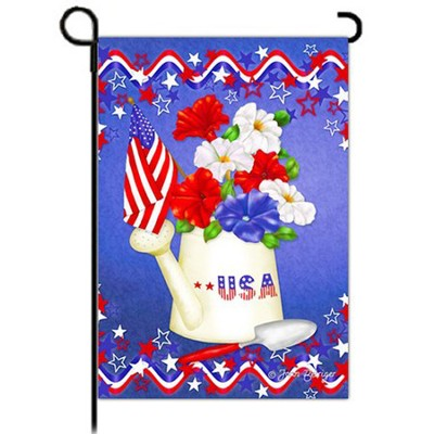 USA, Patriotic Petunias Flag, Small  -     By: Joan Beiriger