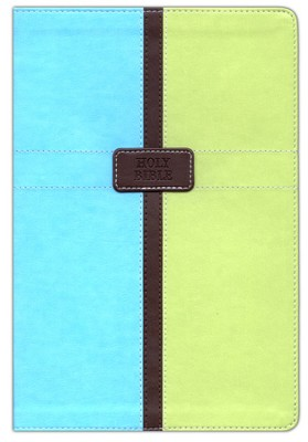 NIV (1984) Study Bible, Italian Duo-Tone, Pool Blue/Melon Green   -