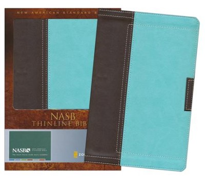 NASB Thinline Bible--soft leather-look, chocolate/turquoise  -