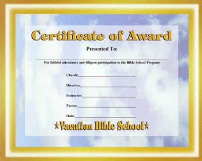 Heavenly Treasure VBS Student Certificate of Award  -