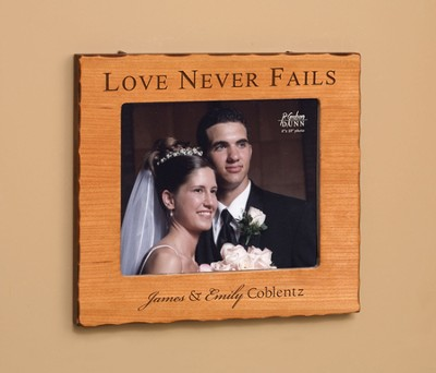 Personalized, Love Never Fails Photo Frame, Cherry       -