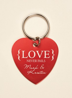 Personalized, Love Never Fails Heart Keychain, Red   -