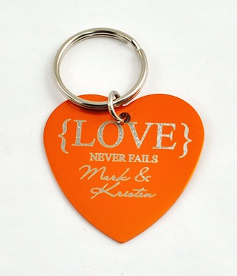 Personalized, Love Never Fails Heart Keychain, Orange   -