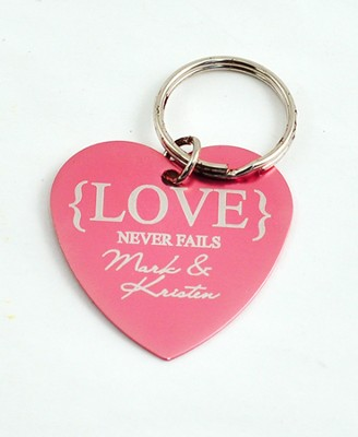 Personalized, Love Never Fails Heart Keychain, Pink   -
