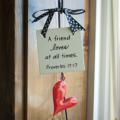 A Friend Loves at All Times Mini Plaque  -     By: Maggie Lindley