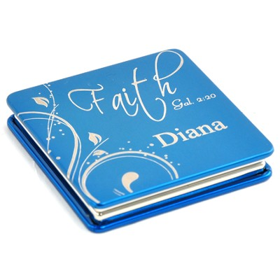Personalized, Faith Compact Mirror, Blue   -