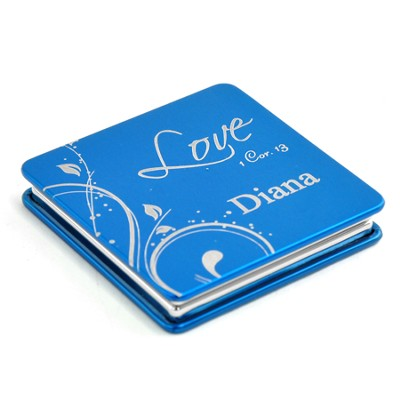 Personalized, Love Compact Mirror, Blue   -