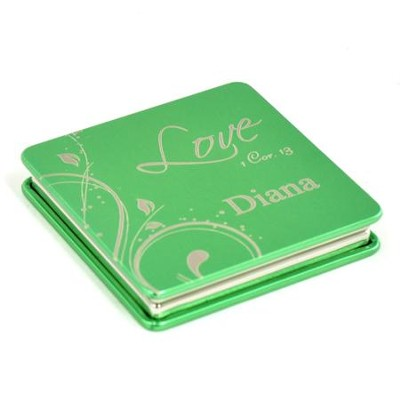 Personalized, Love Compact Mirror, Green   -