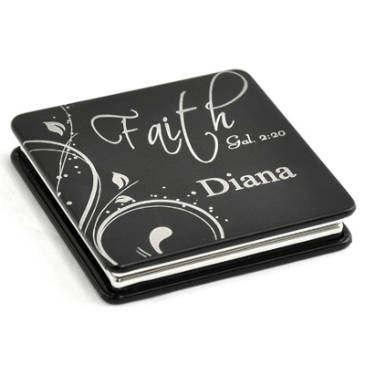 Personalized, Faith Compact Mirror, Black   -