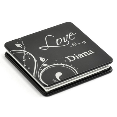 Personalized, Love Compact Mirror, Black   -
